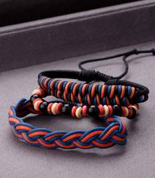 Cool Stacked Black Beads, Leather and Braided Bracelet Set of 3