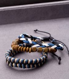 Set of 3 Wooden Beads and Braid Wrap Bracelet from Cool Stacked