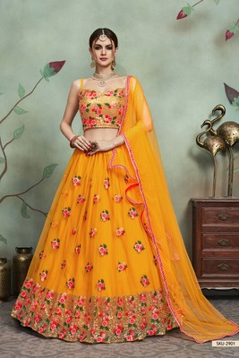 Mustard Thread Embroidery Net Unstitched Lehenga