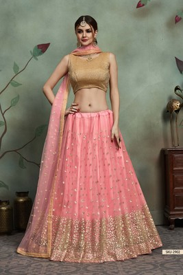Baby pink thread embroidery net unstitched lehenga