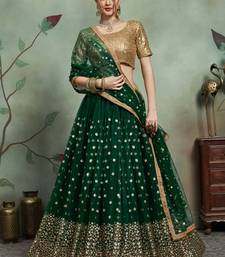 Dark green thread embroidery net unstitched lehenga