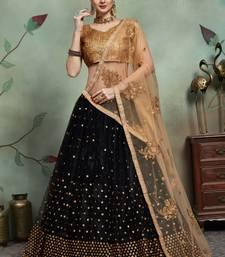 Black Thread Embroidery Net Unstitched Lehenga
