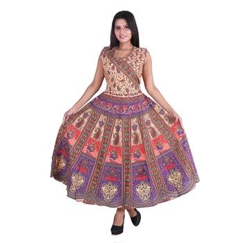 Cotton Floral Printed Jaipuri Long Kurti