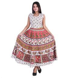 Multicolor Cotton Small Buti Printed Japuri Long Kurti