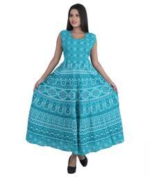 Cotton Jaipuri Print Ocean Blue Color Long Kurti