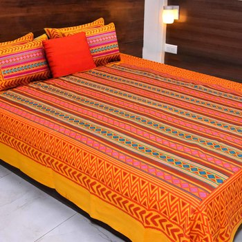 Yellow  Cotton Rajasthani Jaipuri sanganeri Traditional King Size Double Bed Sheet with 2 Pillow Covers
