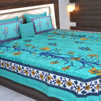 Multicolor  Cotton  Traditional King Size Double Bed Sheet with 2 Pillow Covers