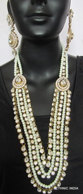 Crystal Pearl Gold Plated Long Necklace Earring Tika Set