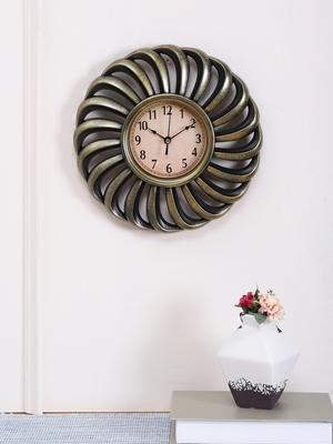 Golden Finish Spiral Wall Clock