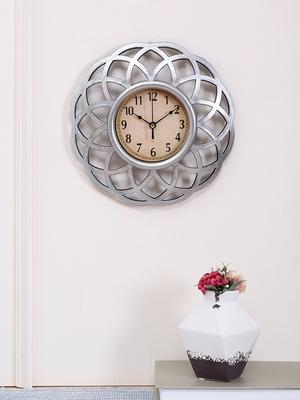 Lotus Design Silver Finish Wall Clock