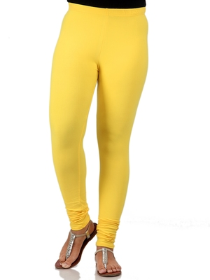 Women  Yellow Polycotton Churidar Legging