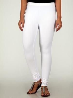 Women  White Polycotton Churidar Legging