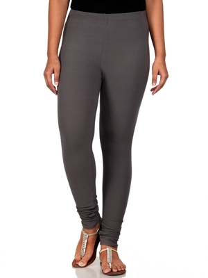 Women  Grey Polycotton Churidar Legging