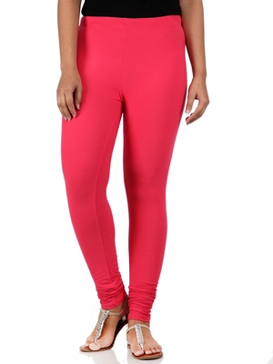 Women  Hot Pink Polycotton Churidar Legging