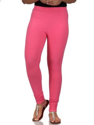 Women  Baby Pink Polycotton Churidar Legging