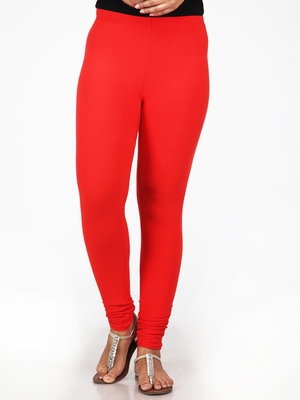 Women  Red Polycotton Churidar Legging
