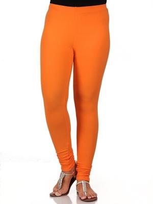 Women  Orange Polycotton Churidar Legging