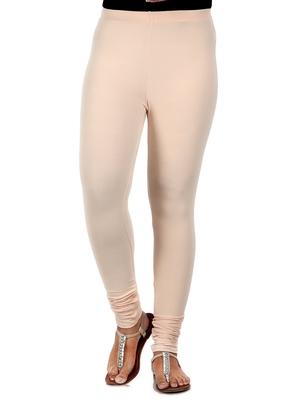 Women  Cream Polycotton Churidar Legging