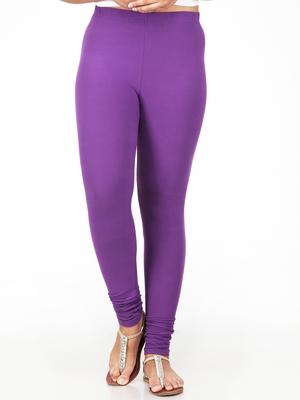 Women  Light Violet Polycotton Churidar Legging