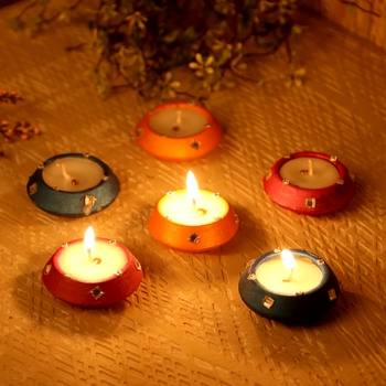 Handpainted Wax Filled Terracotta Diyas - Set Of 6