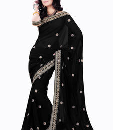 Buy Black embroidered Faux Georgette saree with blouse bridal-saree online
