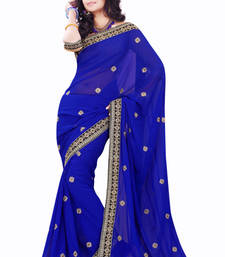 Buy Blue embroidered Faux Georgette saree with blouse faux-saree online