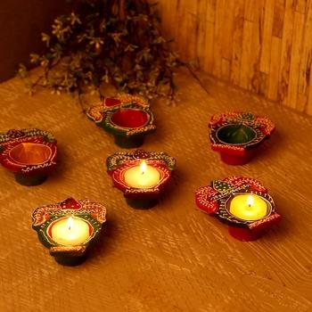 Kalash Design Handpainted Terracotta Diyas - Set Of 6
