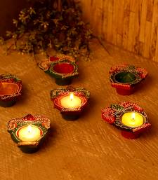 Kalash Design Handpainted Terracotta Diyas - Set Of 6