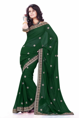 Dark Green embroidered Faux Georgette saree with blouse