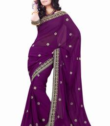 Buy Wine embroidered Faux Georgette saree with blouse ganpati-saree online
