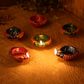 Small Handpainted Terracotta Diyas - Set Of 12