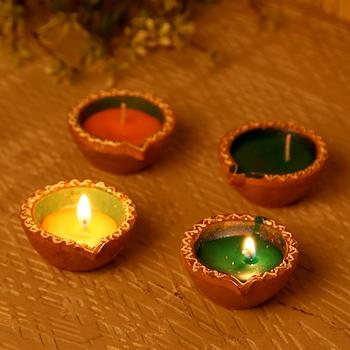 Wax Filled Circular Design Terracotta Diyas-Set Of 4