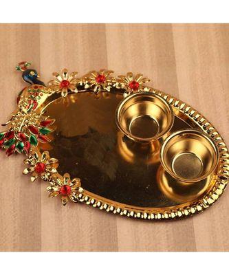 Peacock Shape Kumkum Tilak Thali with Two Katoris, Haldi Kumkum Rakhi thali Set, Pooja thali, Festival Kumkum vati