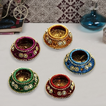 Colorful Matki Shape Diyas (Set Of 5)