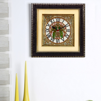Parrot Motif Marble Wall Clock