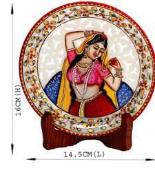 Pure Marble Handpainted Jaali pattern Decorative Plate
