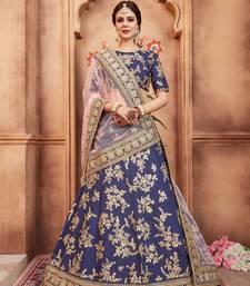 Dark-Blue Embroidered Art Silk Unstitched Lehenga