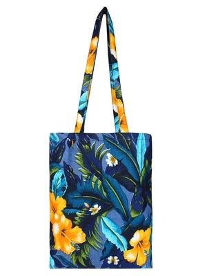 Eco-Friendly Navy Blue & Multicolour Floral Print Canvas Shoulder Bag