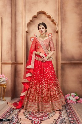 Red Embroidered Net Unstitched Lehenga
