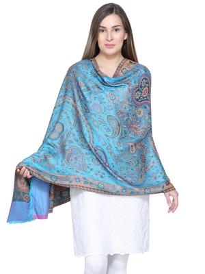 Blue & Multicolour Viscose Rayon Woven Design Paisley Shawl