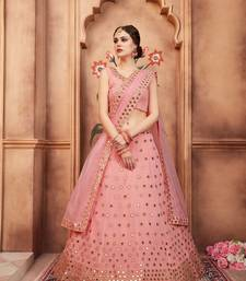 Peach Embroidered Georgette Unstitched Lehenga