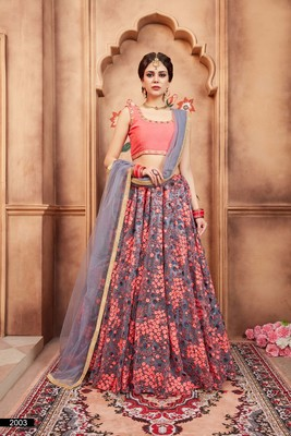Grey embroidered net unstitched lehenga