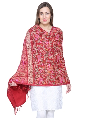 Maroon & Multicolour Woolen Heavy Embroidered Shawl