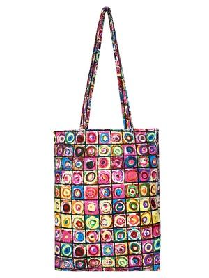 Eco-Friendly Multicolour Abstract Print Canvas Shoulder Bag