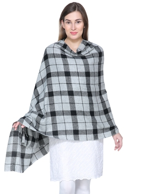 Grey & Black Woolen Woven Design Checkered Shawl