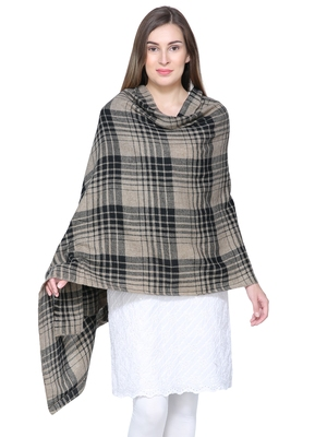 Brown & Black Woolen Woven Design Checkered Shawl