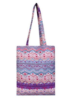 Eco-Friendly Purple & Multicolour Abstract Print Canvas Shoulder Bag