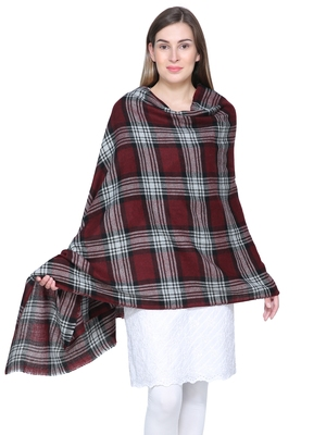 Wine & Black Woolen Woven Design Checkered Shawl