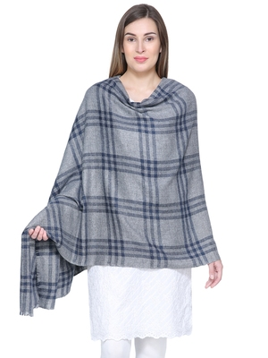 Grey & Navy Blue Woolen Woven Design Checkered Shawl
