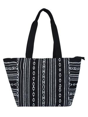 Fleecy Black & White Jacquard Shoulder Bag
